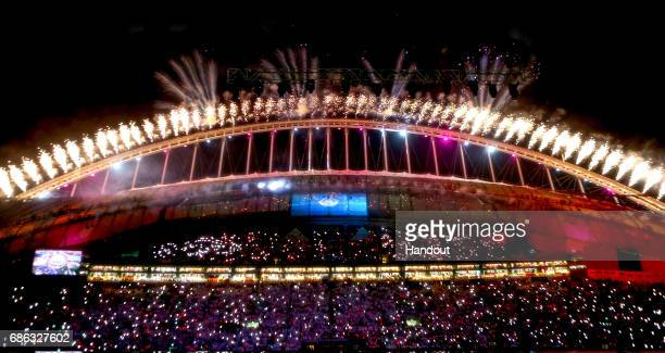 In this handout image supplied by Qatar 2022 Fireworks are seen from the inside of the Khalifa International Stadium during the official opening...