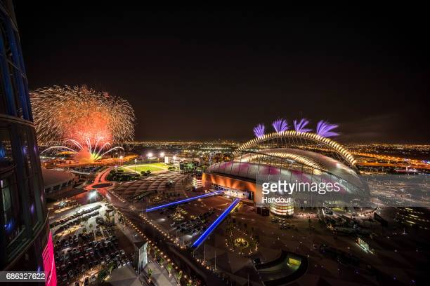 In this handout image supplied by Qatar 2022 Fireworks over Khalifa International Stadium during the official opening ceremony of Khalifa...