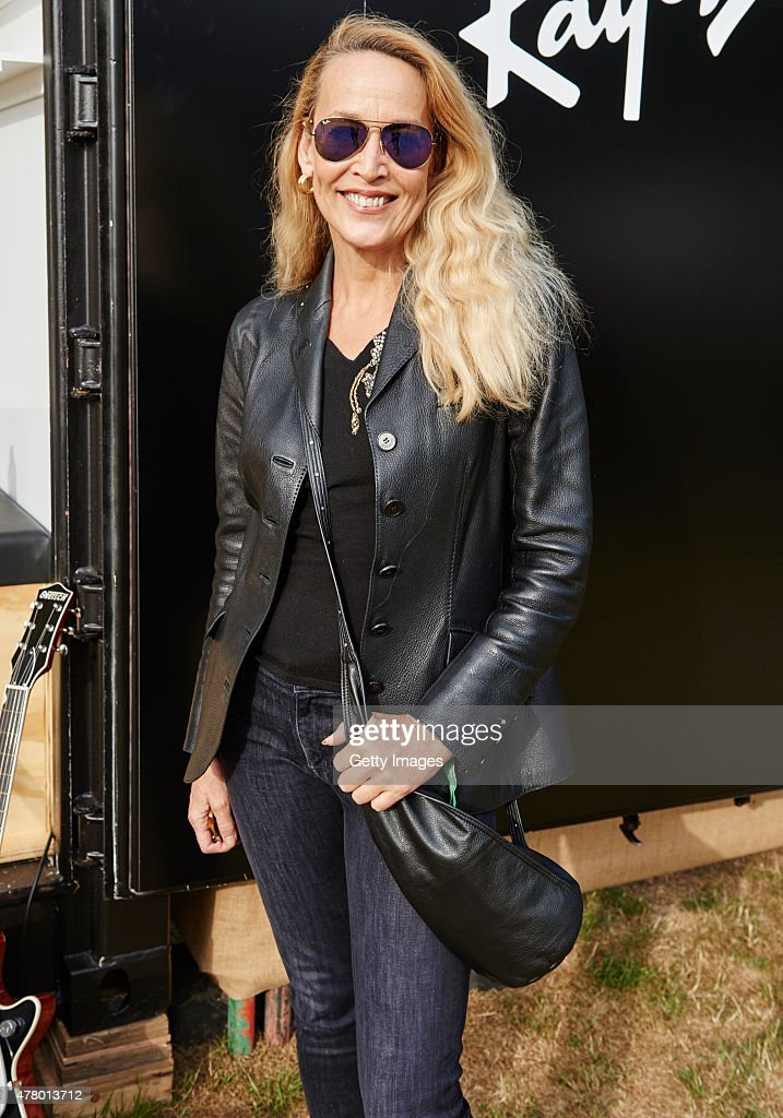 In this handout image supplied by RayBan Jerry Hall poses at the RayBan Rooms at Barclaycard Presents British Summer Time in Hyde Park on June 21...