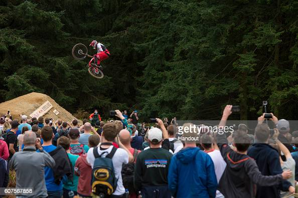 In this handout image supplied by Red Bull Dan Atherton competes during Red Bull Hardline on September 18 in Dinas Mawddwy Wales United Kingdom