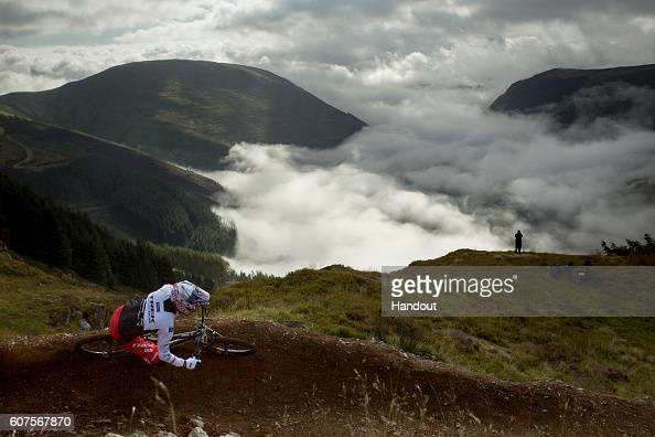 In this handout image supplied by Red Bull Gee Atherton competes during Red Bull Hardline on September 18 in Dinas Mawddwy Wales United Kingdom