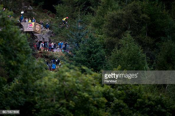 In this handout image supplied by Red Bull Mick Hannah competes during Red Bull Hardline on September 18 in Dinas Mawddwy Wales United Kingdom