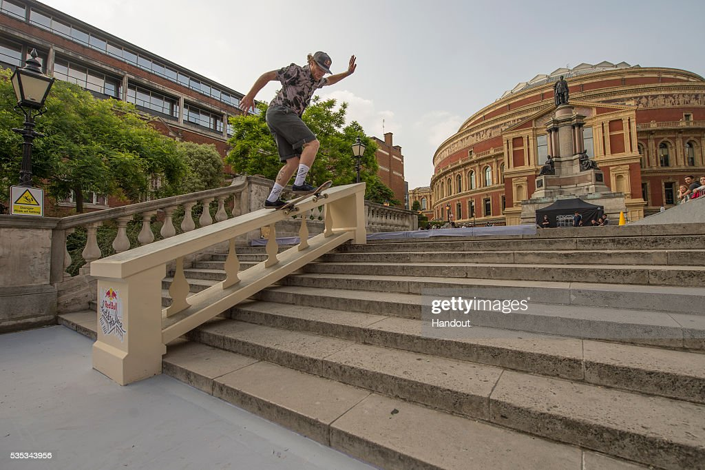 In this handout image supplied by Red Bull UK , Barney Page (UK), performs a frontside blunt during the Red Bull Hold The Line competition at The Royal Albert Hall May 29th , 2016 in London, UK.