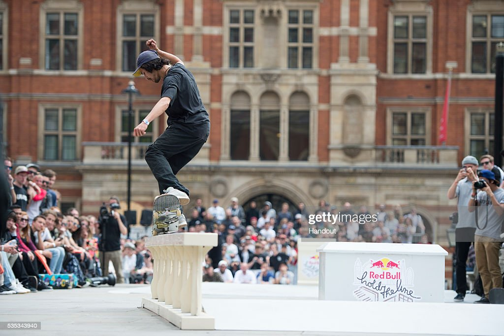 In this handout image supplied by Red Bull UK , Daniel Ledermann (GER), performs a trick during the Red Bull Hold The Line competition at The Royal Albert Hall May 29th , 2016 in London, UK.