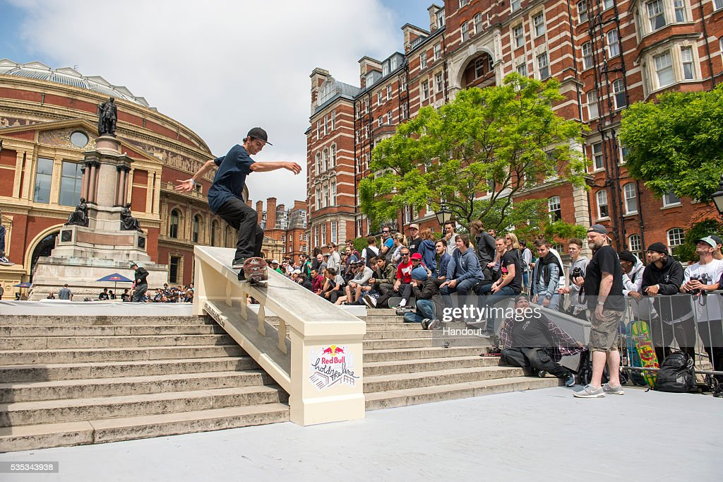 In this handout image supplied by Red Bull UK , Eniz Fazilov (FIN), performs a trick during the Red Bull Hold The Line competition at The Royal Albert Hall May 29th , 2016 in London, UK.