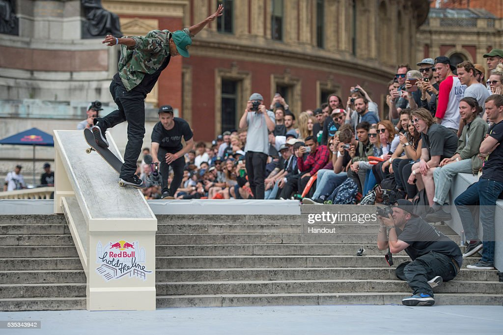 In this handout image supplied by Red Bull UK ,event winner Tommy Fynn (NZ), performs a frontside nose blunt slide during the Red Bull Hold The Line competition at The Royal Albert Hall May 29th , 2016 in London, UK.