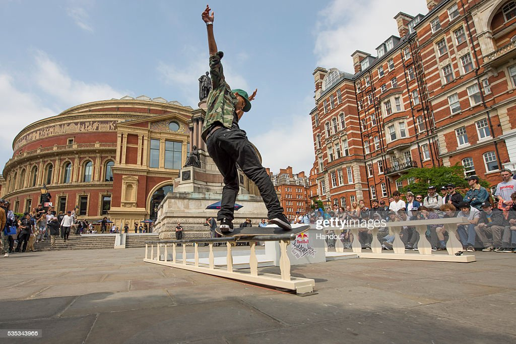In this handout image supplied by Red Bull UK , event winner Tommy Fynn (NZ), performs a trick during the Red Bull Hold The Line competition at The Royal Albert Hall May 29th , 2016 in London, UK.