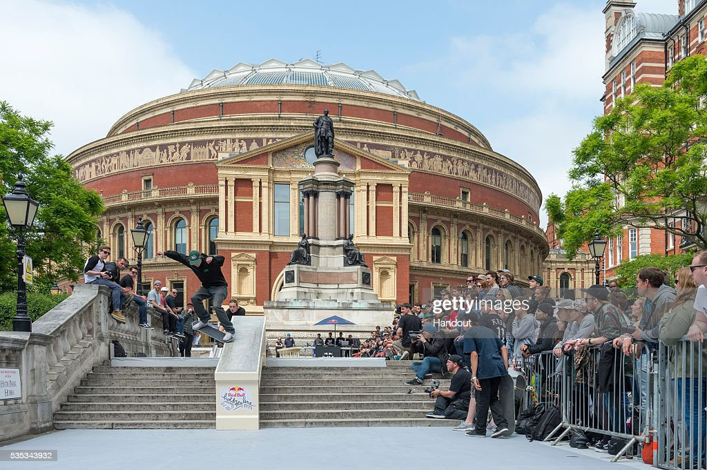In this handout image supplied by Red Bull UK , , Jacopo Carozzi (ITA), performs a trick during the Red Bull Hold The Line competition at The Royal Albert Hall May 29th , 2016 in London, UK.