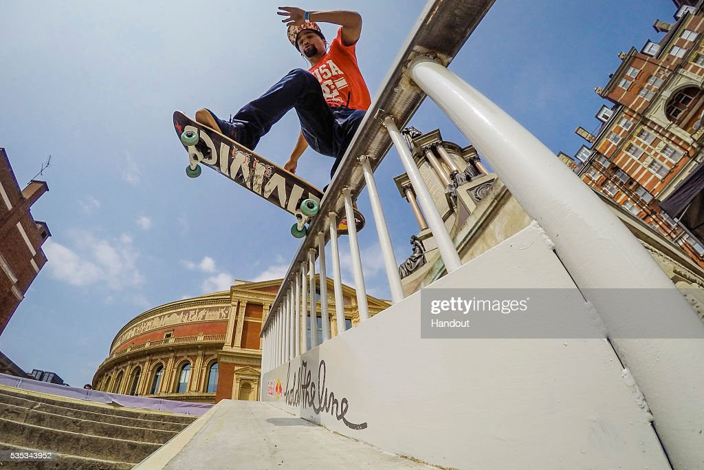 In this handout image supplied by Red Bull UK , K, Moses Adams (South Africa), performs a noseblunt slideduring the Red Bull Hold The Line competition at The Royal Albert Hall May 29th , 2016 in London, UK.