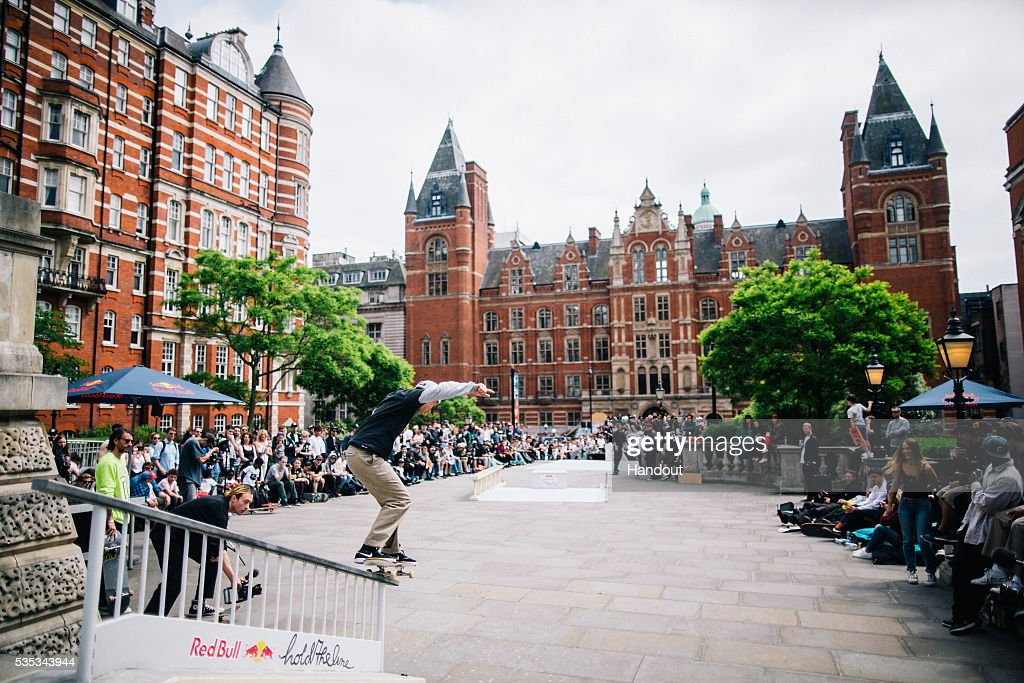 In this handout image supplied by Red Bull UK , KJarne Verbruggen (BE), performs a trick during the Red Bull Hold The Line competition at The Royal Albert Hall May 29th , 2016 in London, UK.