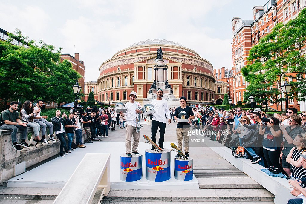 In this handout image supplied by Red Bull UK , Tommy Fynn (NZ), Douwe Macare (NL) and Aurelien Giraud (FR), during the Red Bull Hold The Line competition at The Royal Albert Hall May 29th , 2016 in London, UK.