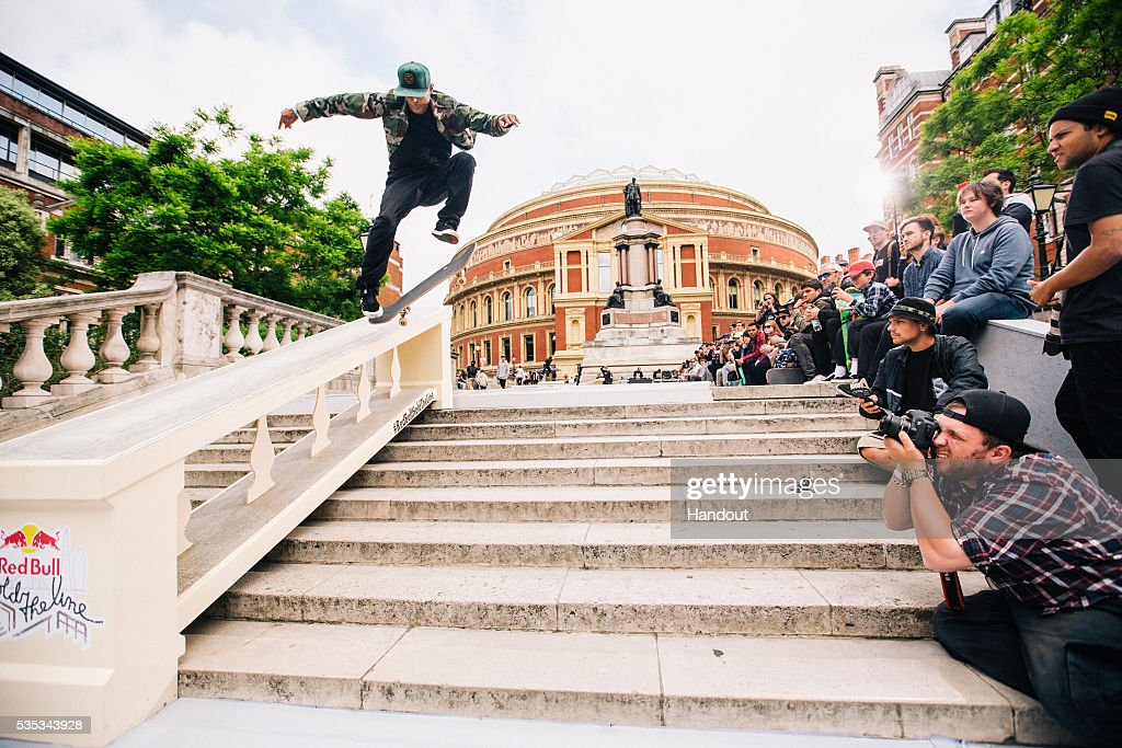 In this handout image supplied by Red Bull UK , Tommy Fynn (NZ), performs a trick during the Red Bull Hold The Line competition at The Royal Albert Hall May 29th , 2016 in London, UK.