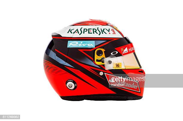 In this handout image supplied by Scuderia Ferrari Kimi Raikkonen of Finland's new helmet for the 2016 FIA Formula One World Championship is seen on...