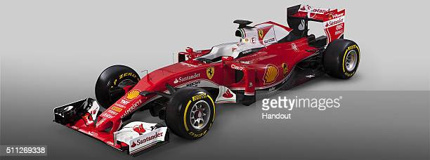 In this handout image supplied by Scuderia Ferrari the team unveil their new SF16H Formula One car for the 2016 FIA Formula One World Championship on...