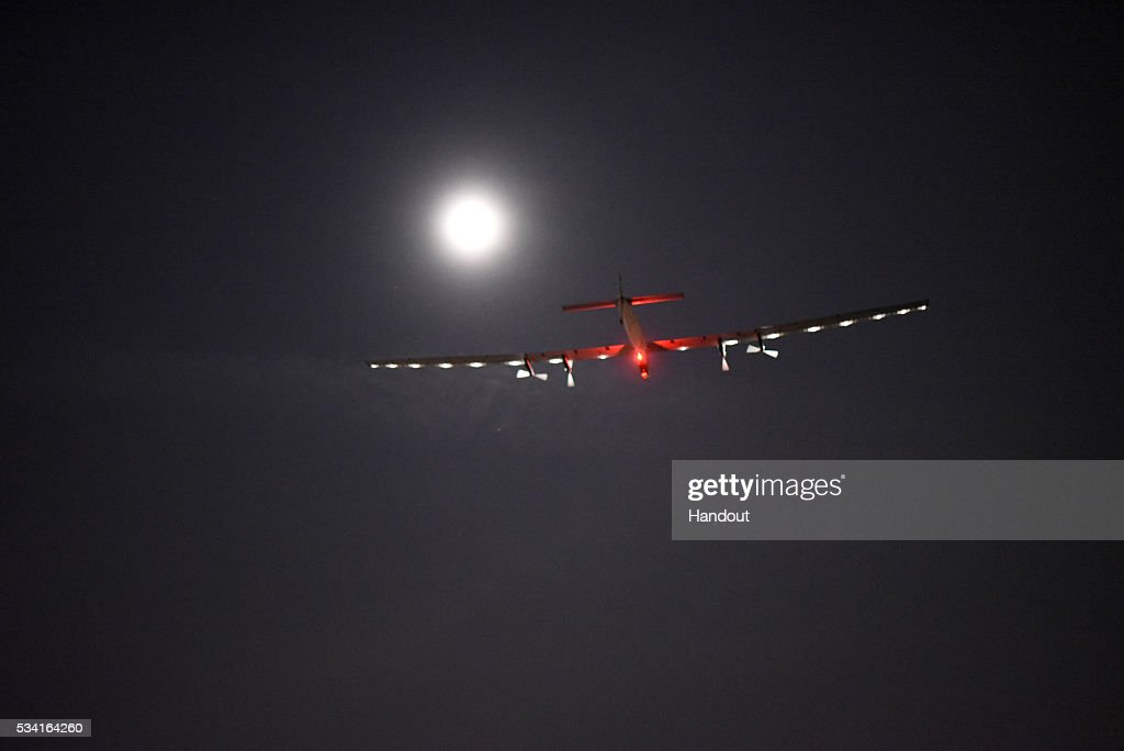 In this handout image supplied by SI2, Picture shows Solar Impulse 2, the solar airplane of Swiss pioneers Bertrand Piccard and André Borschberg, short after the take off from Dayton International Airport, Oklahoma, to Lehigh Valley, Pennsylvania on May 25th at 8:00 AM UTC, 10:00 AM UTC, 4:00 AM EDT. The take off has been delayed for one day, since the temporary hangar, that covers the plane when on ground, has been partly deflated yesterday and the plane had to be checked again. The flight with Bertrand Piccard at the controls is expected to last approximately 17 hours.