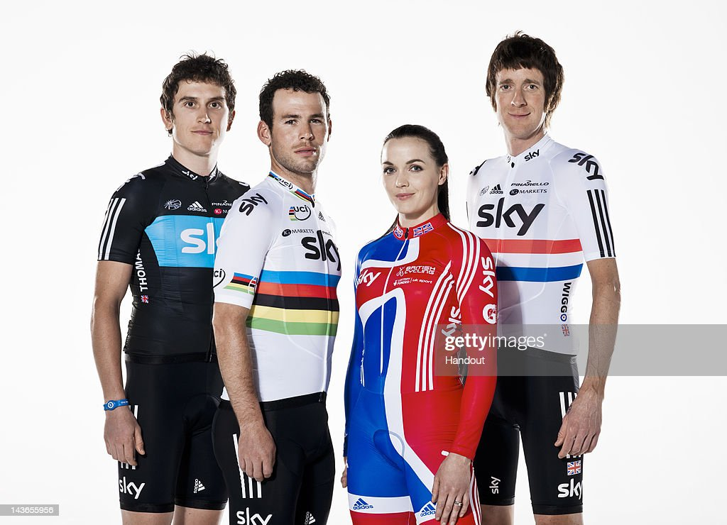 In this handout image supplied by Sky Cycling, Britain's cycling heroes <a gi-track='captionPersonalityLinkClicked' href=/galleries/search?phrase=Bradley+Wiggins&family=editorial&specificpeople=182490 ng-click='$event.stopPropagation()'>Bradley Wiggins</a> (R), <a gi-track='captionPersonalityLinkClicked' href=/galleries/search?phrase=Geraint+Thomas&family=editorial&specificpeople=804304 ng-click='$event.stopPropagation()'>Geraint Thomas</a> (L), <a gi-track='captionPersonalityLinkClicked' href=/galleries/search?phrase=Mark+Cavendish&family=editorial&specificpeople=684957 ng-click='$event.stopPropagation()'>Mark Cavendish</a> (2ndL) and <a gi-track='captionPersonalityLinkClicked' href=/galleries/search?phrase=Victoria+Pendleton&family=editorial&specificpeople=228525 ng-click='$event.stopPropagation()'>Victoria Pendleton</a> (2ndR) pose together to announce Sky's extension of its partnership with British Cycling, on May 1, 2012 in London, England. The unique partnership, now extended to 2016, has been a key factor in cycling's phenomenal success story over the past four years and is on track to getting 1 million more people cycling by 2013. To find out how you can get involved in cycling this year visit goskyride.com.