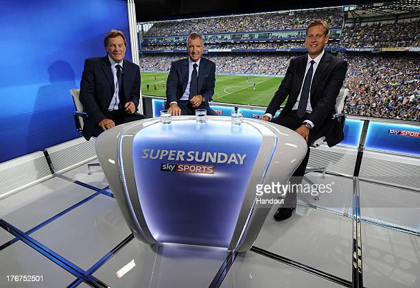 In this handout image supplied by Sky Sports Glenn Hoddle Graeme Souness and Ed Chamberlain present the Sky Sports Super Sunday TV coverage during...