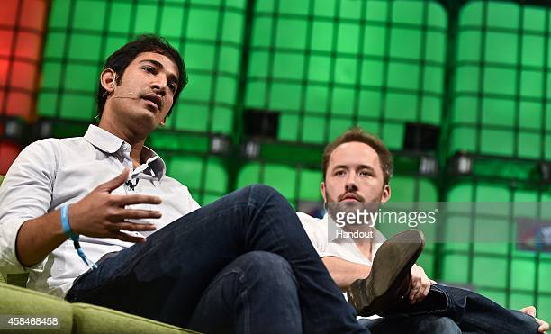 In this handout image supplied by Sportsfile Aditya Agarwal VP of Engineering Dropbox left and Drew Houston Founder Dropbox speaking during the web...