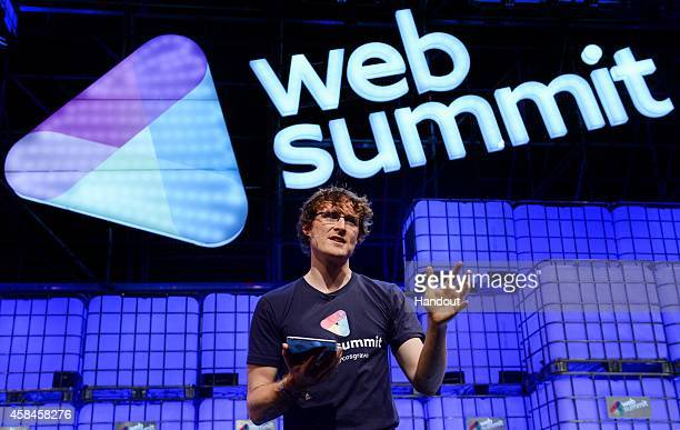 In this handout image supplied by Sportsfile Paddy Cosgrave Founder and CEO Web Summit on the centre stage during Day 2 of the 2014 Web Summit in the...