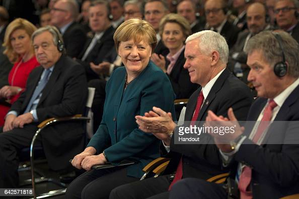 In this handout image supplied by the Bundesregierung German chancellor Angela Merkel and US Vice President Mike Pence attend the 2017 Munich...