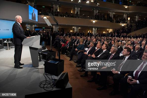 In this handout image supplied by the Bundesregierung US Vice President Mike Pence speaks at the 2017 Munich Security Conference on February 18 2017...