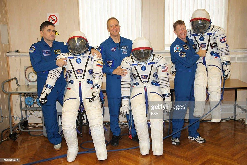 In this handout image supplied by the European Space Agency (ESA), Expedition 46/47 Roscosmos commander <a gi-track='captionPersonalityLinkClicked' href=/galleries/search?phrase=Yuri+Malenchenko&family=editorial&specificpeople=198749 ng-click='$event.stopPropagation()'>Yuri Malenchenko</a>, NASA astronaut Tim Kopra and ESA astronaut Tim Peake inflate their Sokol suits to ensure there are no leaks. in Baikonur, Kazakhstan. Along with astronauts <a gi-track='captionPersonalityLinkClicked' href=/galleries/search?phrase=Yuri+Malenchenko&family=editorial&specificpeople=198749 ng-click='$event.stopPropagation()'>Yuri Malenchenko</a> from Russia and <a gi-track='captionPersonalityLinkClicked' href=/galleries/search?phrase=Timothy+Kopra&family=editorial&specificpeople=6392357 ng-click='$event.stopPropagation()'>Timothy Kopra</a> from the United States, Peake will launch from Baikonur Cosmodrome to the International Space Station (ISS) on 15 December 2015 for a six month mission.