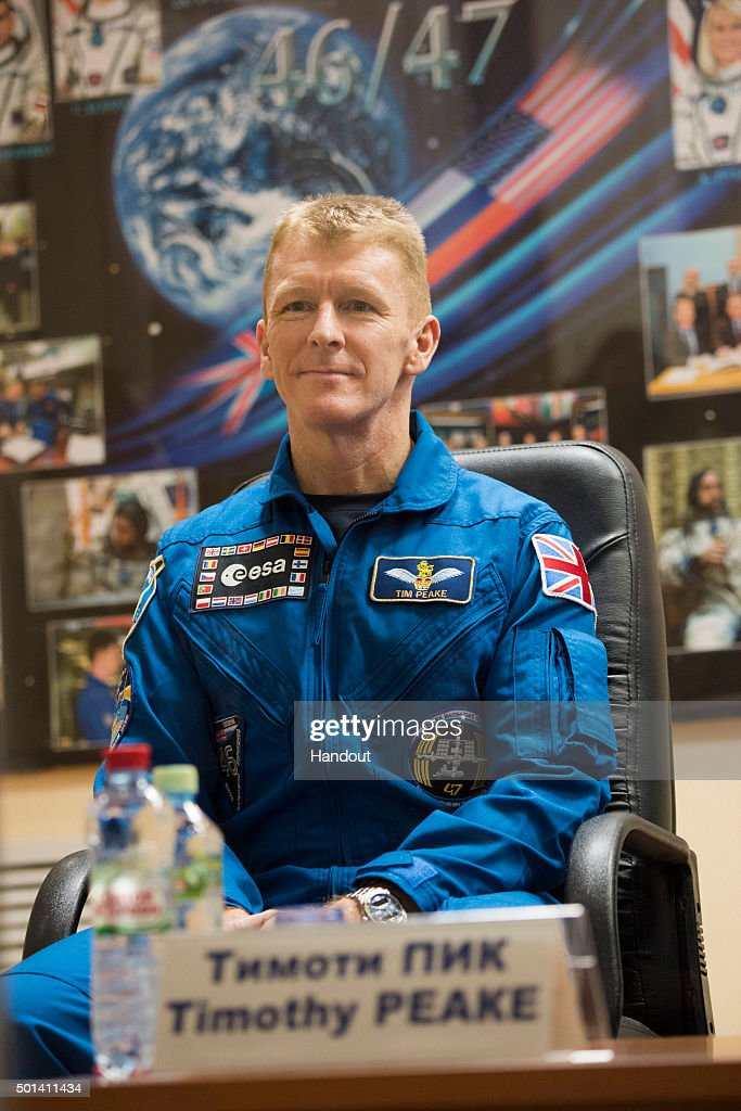 In this handout image supplied by the European Space Agency (ESA), Expedition 46-47 crewmember Tim Peake of the European Space Agency attends the pre-launch press conference, on December 14, 2015 in Baikonur, Kazakhstan. Soyuz TMA-19M is scheduled to launch on December 15 carrying crew members Soyuz Commander Yuri Malenchenko of the Russian Federal Space Agency (Roscosmos), Flight Engineer Tim Kopra of NASA, and Flight Engineer Tim Peake of ESA (European Space Agency) to the International Space Station for a six-month mission, as part of Expedition 46.