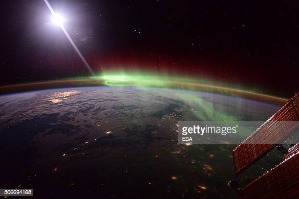 In this handout image supplied by the European Space Agency A photo of an aurora taken by ESA astronaut Tim Peake from on board the International...