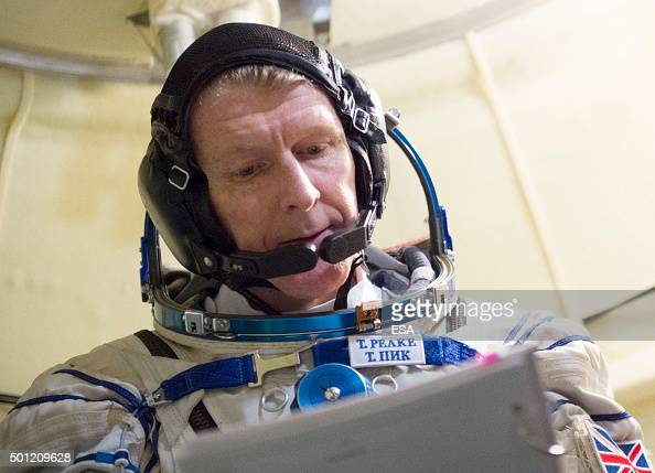 In this handout image supplied by the European Space Agency British ESA astronaut Major Timothy Peake takes part in training inside a fullscale...
