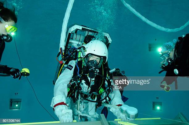 In this handout image supplied by the European Space Agency British ESA astronaut Major Timothy Peake takes part in EVA training Extravehicular...