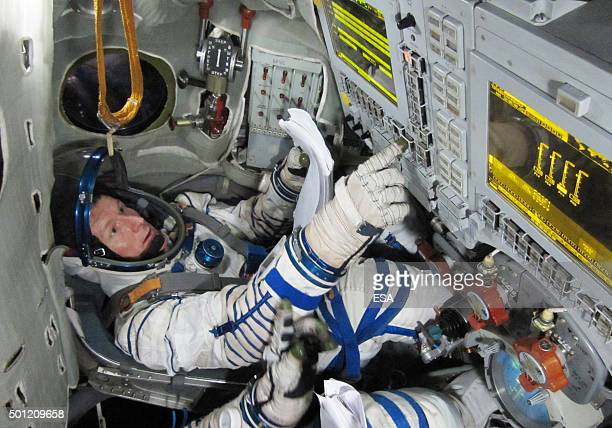 In this handout image supplied by the European Space Agency ESA astronaut Timothy Peake from the United Kingdom training with the Soyuz simulator in...