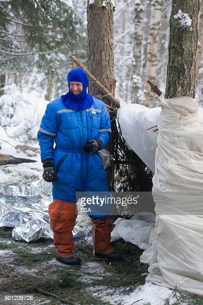 In this handout image supplied by the European Space Agency ESA astronaut Timothy Peake takes part in winter survival training on January 22 2014...