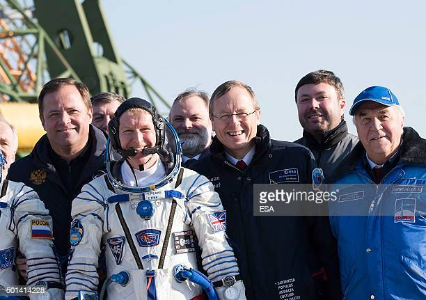 In this handout image supplied by the European Space Agency ESA astronaut Tim Peake and Jan Woerner ESA Director General walk to the launch pad on...