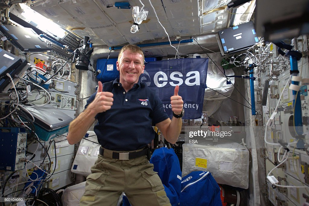 In this handout image supplied by the European Space Agency (ESA), ESA astronaut Tim Peake gives the thumbs up in zero gravity days after his arrival on the International Space Station, December 18, 2015. Expedition 46-47 crewmembers ESA astronaut Tim Peake, NASA astronaut Tim Kopra and Russian cosmonaut commander Yuri Malenchenko were welcomed aboard the International Space Station by Russian cosmonauts Mikhail Korniyenko and Oleg Kononenko, and NASA astronaut Scott Kelly for a six-month mission, as part of Expedition 46.