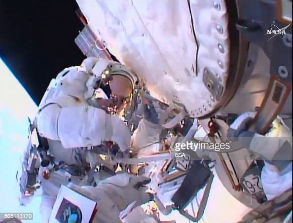 In this handout image supplied by the European Space Agency ESA astronaut Tim Peake seen on his firstever spacewalk after having replaced a faulty...