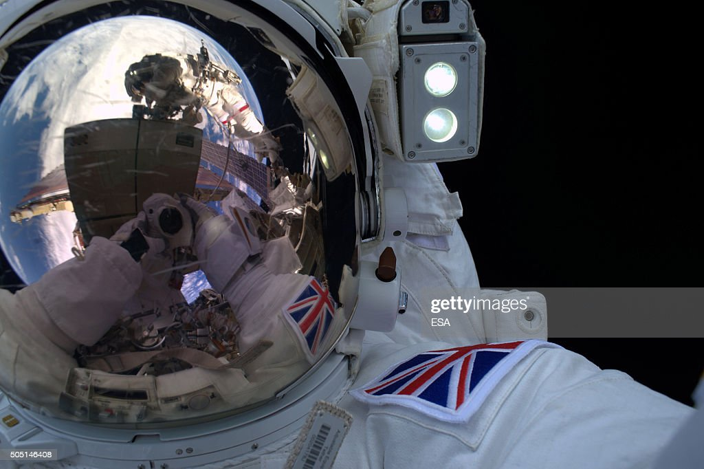 In this handout image supplied by the European Space Agency (ESA), ESA astronaut Tim Peake takes part in his 4 hour 43 minute spacewalk to replace a failed power regulator and install cabling for the International Space Station on January 15, 2016.The meticulously planned and executed sortie was stopped early after fellow spacewalker NASA astronaut Tim Kopra reported a small amount of water building up in his helmet. The two Tims worked in close cooperation with each other to return to the Space Station, with NASA commander Scott Kelly and cosmonaut Sergei Volkov waiting inside to help them out of their suits.