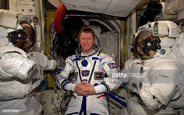 In this handout image supplied by the European Space Agency ESA astronaut Tim Peake has a Sokol spacesuit leak check on June 8 2016 ESA astronaut Tim...