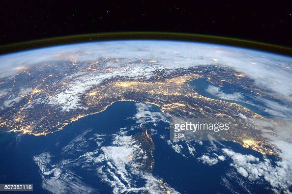 In this handout image supplied by the European Space Agency The ISS passes over Italy the Alps and the Mediterranean in an image taken by British ESA...