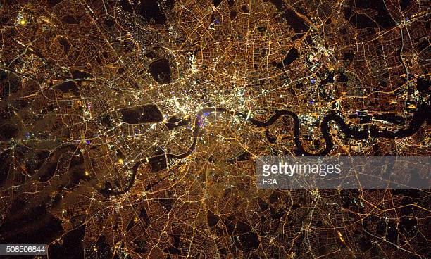 In this handout image supplied by the European Space Agency The ISS passes over London in an image taken by British ESA astronaut Tim Peake from the...