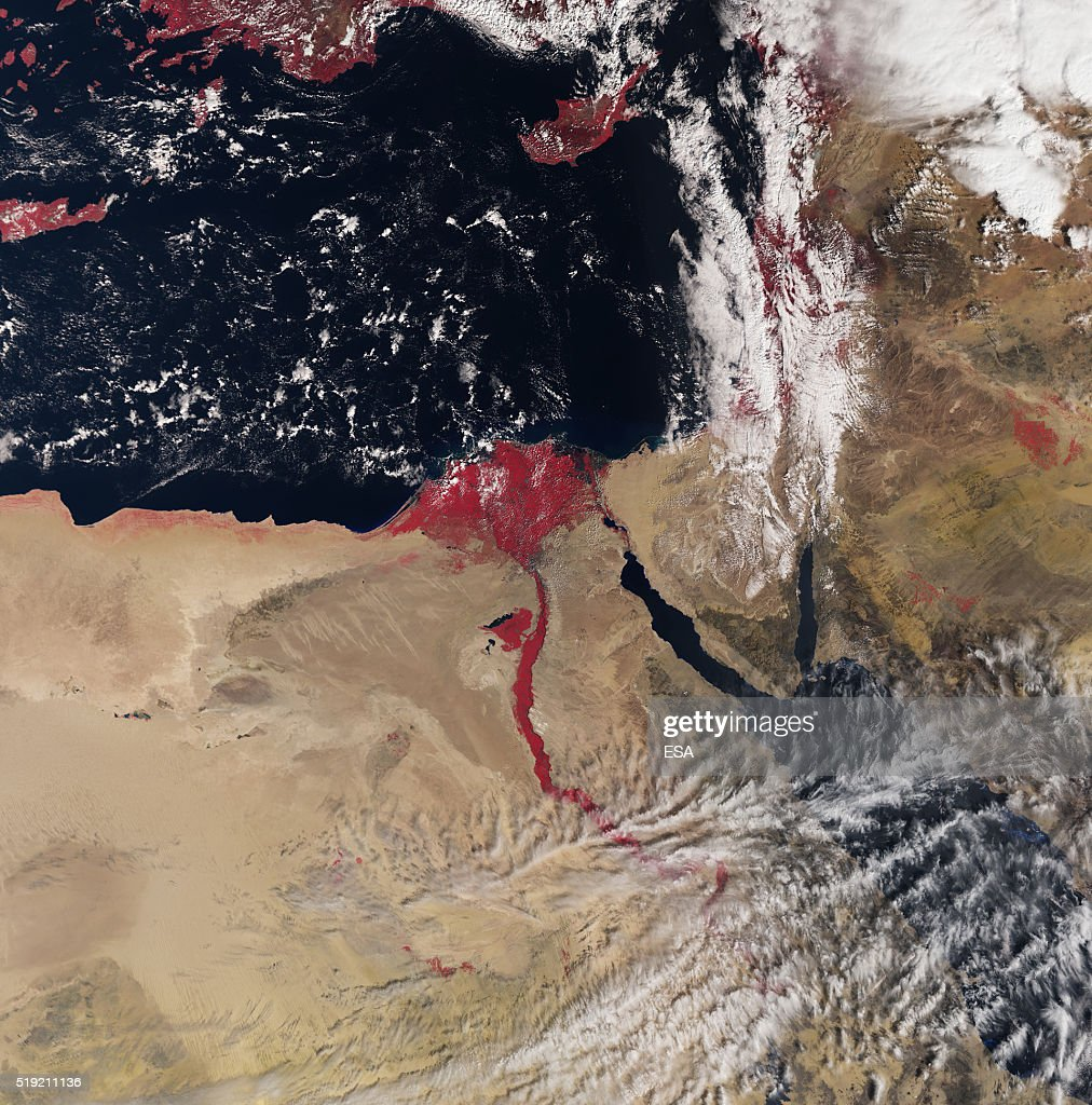 In this handout image supplied by the European Space Agency (ESA), The new Sentinel-3A satellite in orbit records the sites over the River Nile, flowing red, the Delta and the surrounding desert areas of northeast Africa and parts of the Middle East on March 3, 2016. In the centre of the image is capital city Cairo, Egypt with the River Nile snaking northwards clearly visible, along with the Red Sea just further east. Also evident are the islands of Cyprus further north in the Mediterranean Sea and parts of the island of Crete on the very left. Launched last February, Sentinel-3 will systematically measure the Earth's oceans, land, ice and atmosphere to monitor and understand large-scale global dynamics.