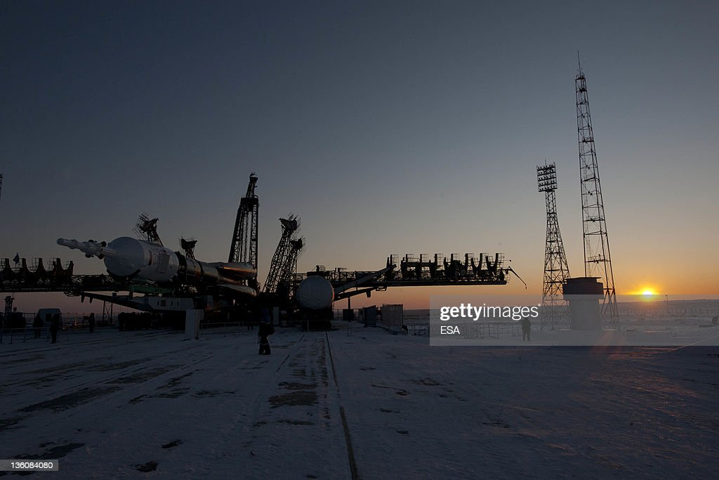 In this handout image supplied by the European Space Agency, the Soyuz TMA-03M spacecraft is raised into vertical position on December 19, 2011 at the Baikonur Cosmodrome in Kazakhstan. The launch of the Soyuz spacecraft with Expedition 30 Soyuz Commander Oleg Kononenko of Russia, NASA Flight Engineer Don Pettit and ESA (European Space Agency) astronaut and Flight Engineer Andre Kuipers, is scheduled for Wednesday December 21, 2011.