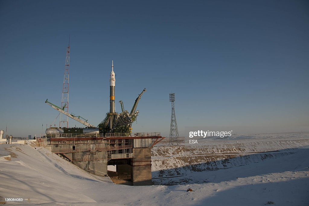 In this handout image supplied by the European Space Agency the Soyuz TMA03M spacecraft is seen at the launch pad after being raised into vertical...