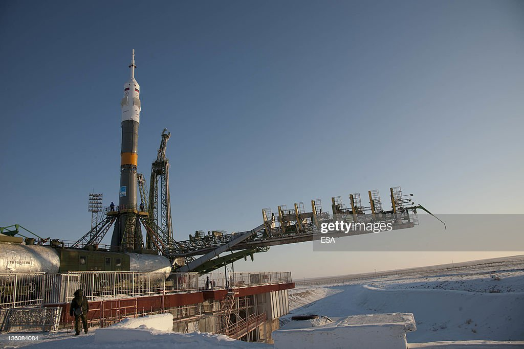 In this handout image supplied by the European Space Agency, the Soyuz TMA-03M spacecraft is seen at the launch pad after being raised into vertical position on December 19, 2011 at the Baikonur Cosmodrome in Kazakhstan. The launch of the Soyuz spacecraft with Expedition 30 Soyuz Commander Oleg Kononenko of Russia, NASA Flight Engineer Don Pettit and ESA (European Space Agency) astronaut and Flight Engineer Andre Kuipers, is scheduled for Wednesday December 21, 2011.