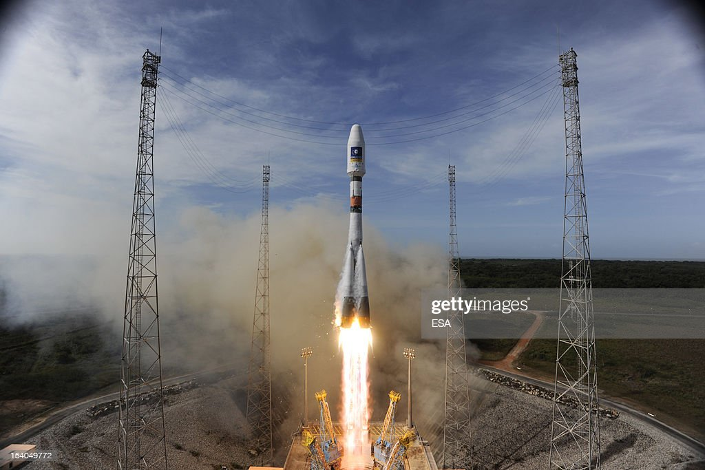 In this handout image supplied by the European Space Agency (ESA), the Soyuz rocket lifts off for the third time from Europe's Spaceport in French Guiana on its mission to place the second pair of Galileo In-Orbit Validation satellites into orbit, on October 12, 2012 in Kourou, French Guiana. Galileo will become fully operational by 2020 and intends to give Europe full independence from the US, Russian and Chinese controlled GPS systems.