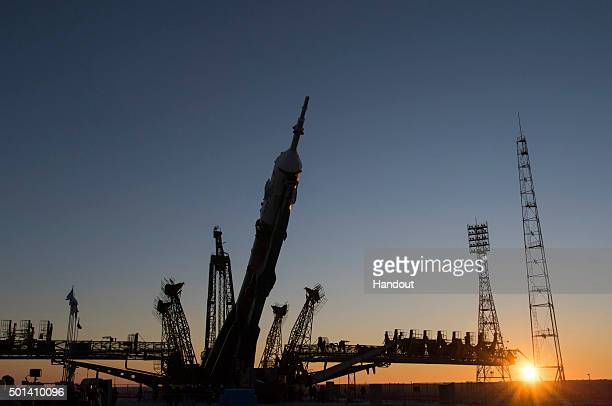 In this handout image supplied by the European Space Agency The Soyuz TMA19M spacecraft is moved into vertical position at Baikonur Cosmodrome launch...
