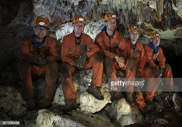 In this handout image supplied by the European Space Agency The caving team during training Norishige Kanai from Japan ESA astronauts Tim Peake and...