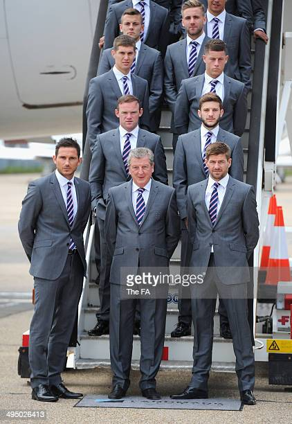 In this handout image supplied by the FA Jack Wilshere Luke Shaw John Stones Ross Barkley Wayne Rooney Adam Lallana Frank Lampard manager Roy Hodgson...