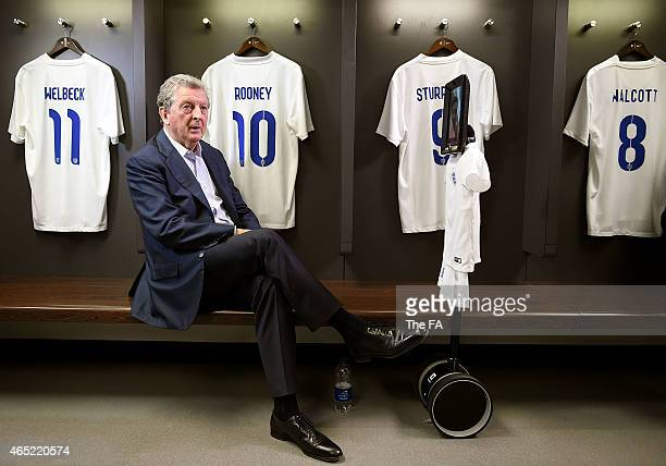 In this handout image supplied by The FA Roy Hodgson answers fans' questions via EE funbot at Wembley Stadium on March 4 2015 in London England