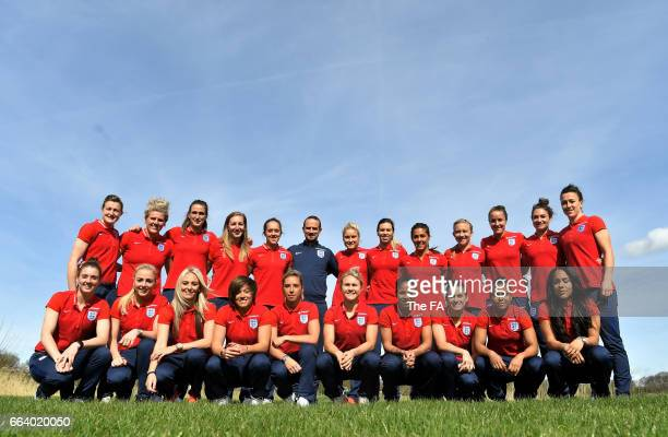 In this handout image supplied by The FA The England squad picked for the Women's Euro 2017 pose for photos following the Women's Euro 2017 Squad...