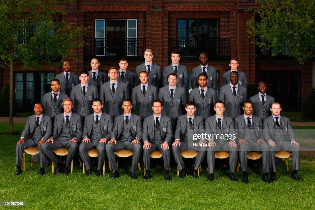 In this handout image supplied by the FA the England World Cup 2010 squad wearing their official Marks Spencer suits Jermain Defoe Joe Cole James...